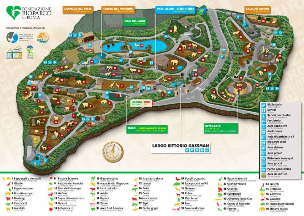 Plan dessiné du parc zoologique Bioparco di Roma à Rome