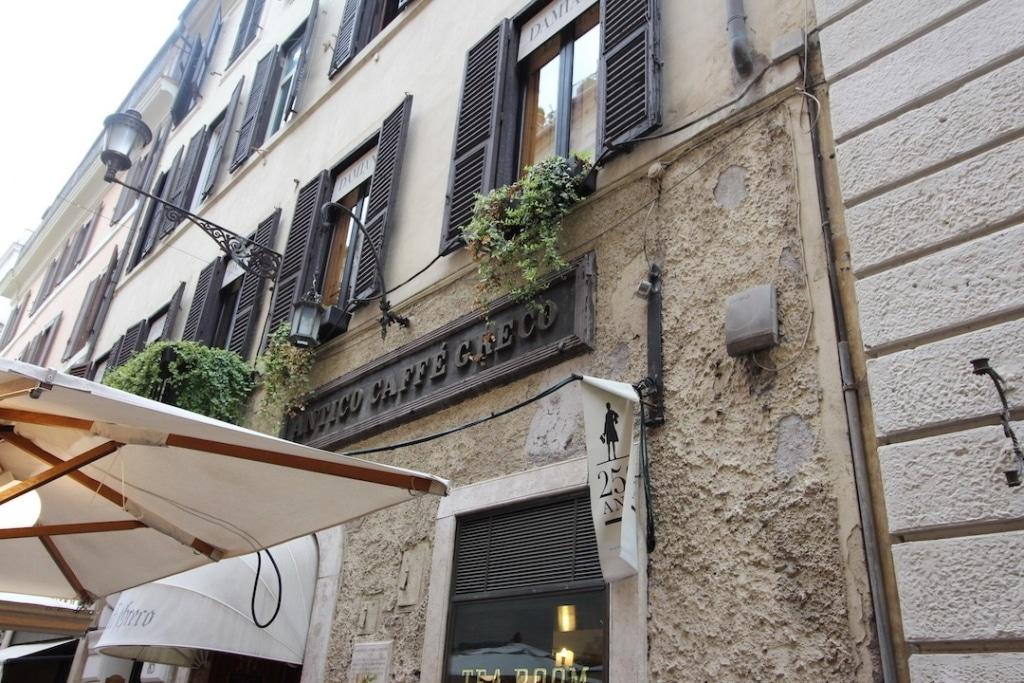 Devanture du café Antico Caffé Greco à Rome